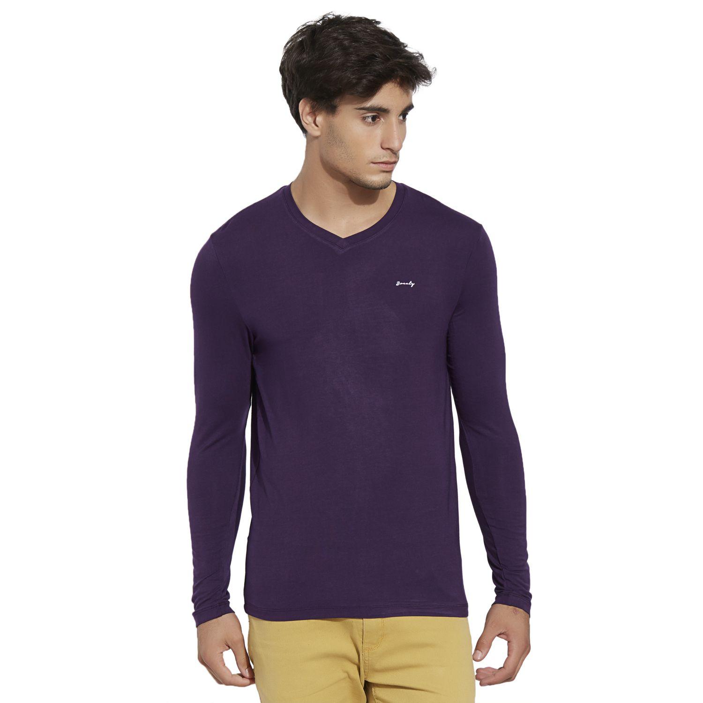 BONATY Purple Micro Modal  V-Neck Full Sleeves Solid T-Shirt For Men
