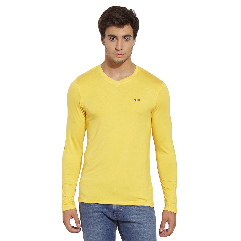 BONATY Yellow Micro Modal  V-Neck Full Sleeves Solid T-Shirt For Men