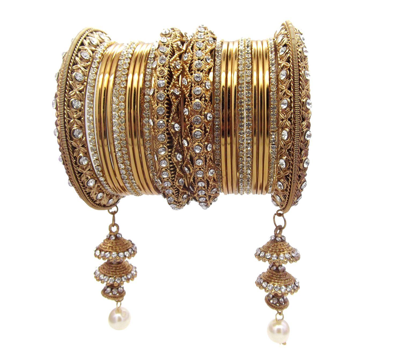 Biyu Bridal 24pc Antique Gold Plated Latkan Jhumka Chuda