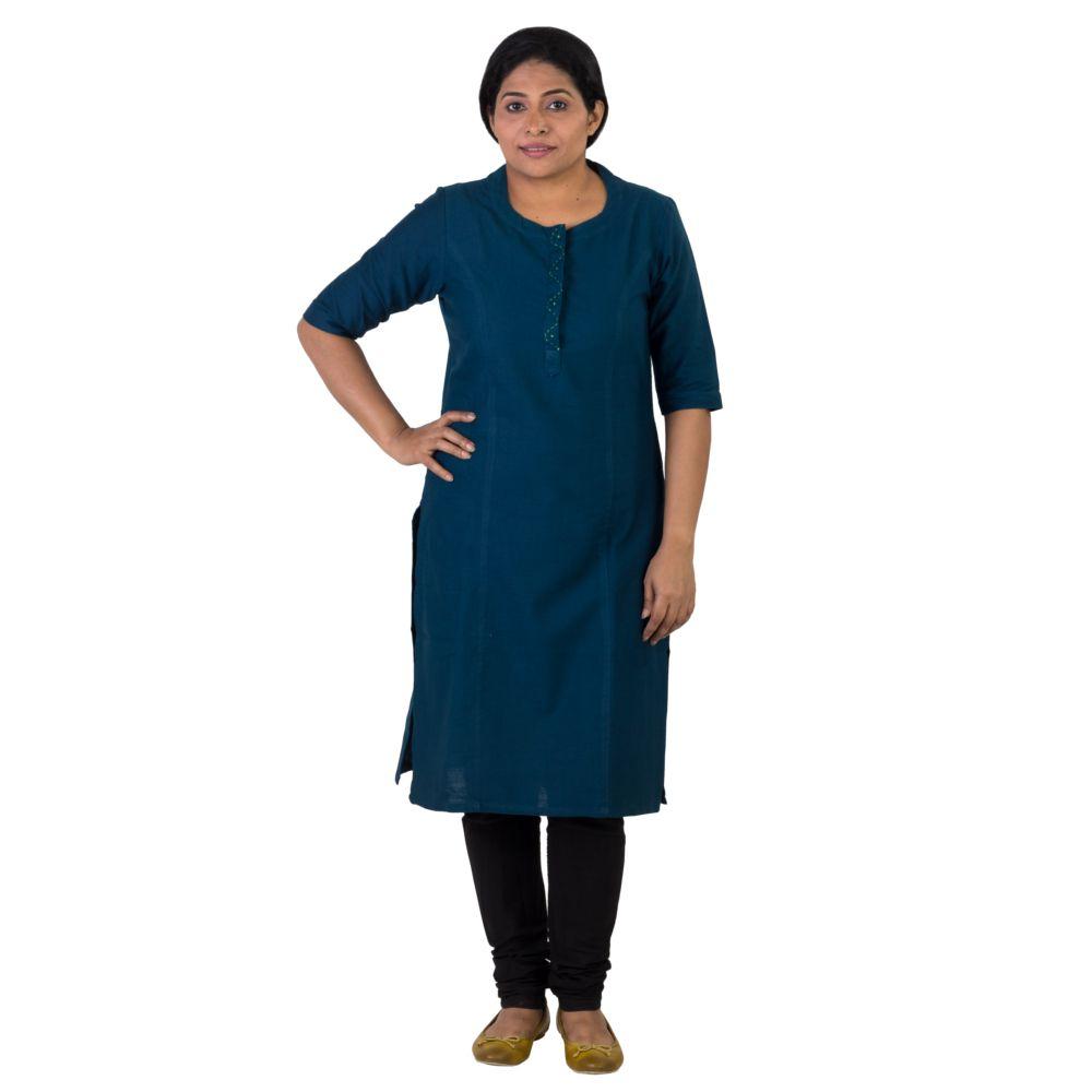 Indo Mood Blue Cotton Straight Kurti