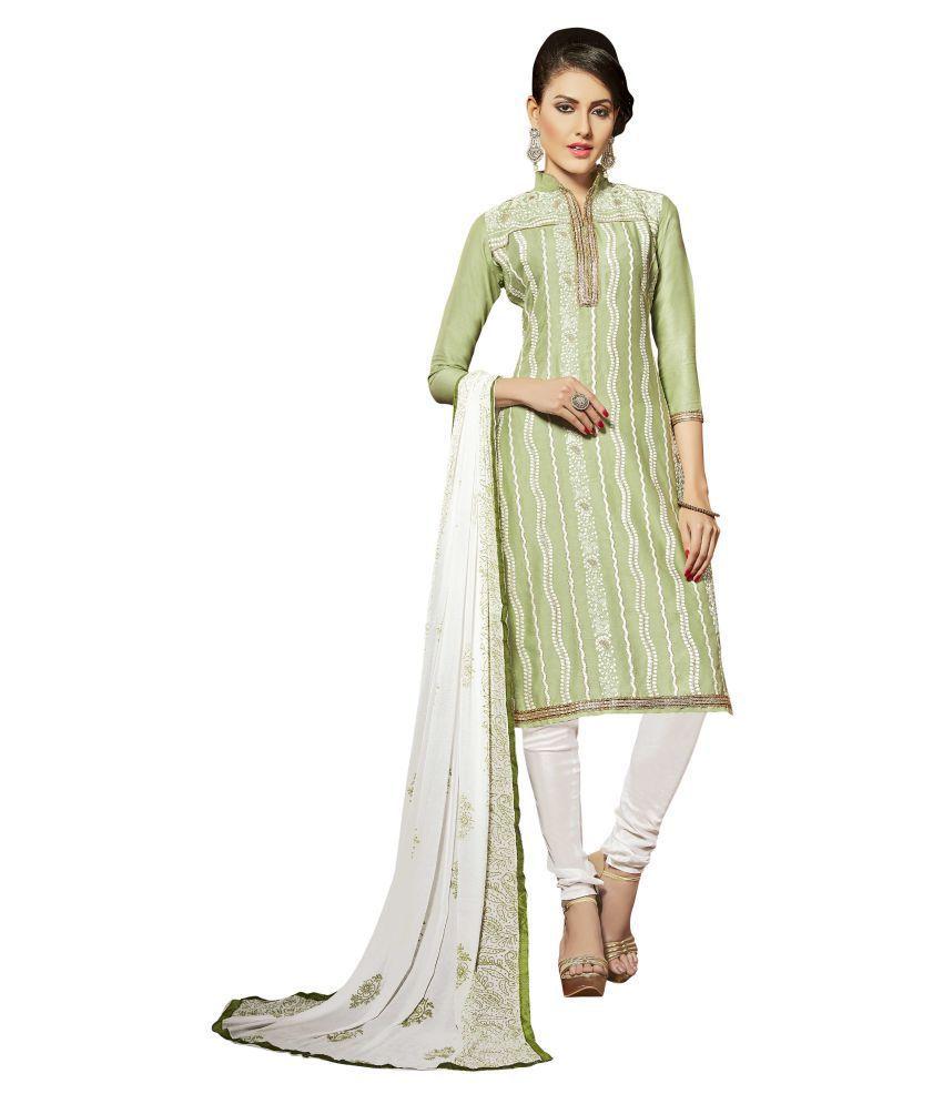 WALKNSHOP Green Cotton Dress Material