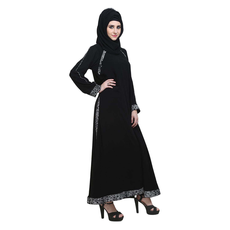 abaya Black Crepe Stitched Burqas with Hijab