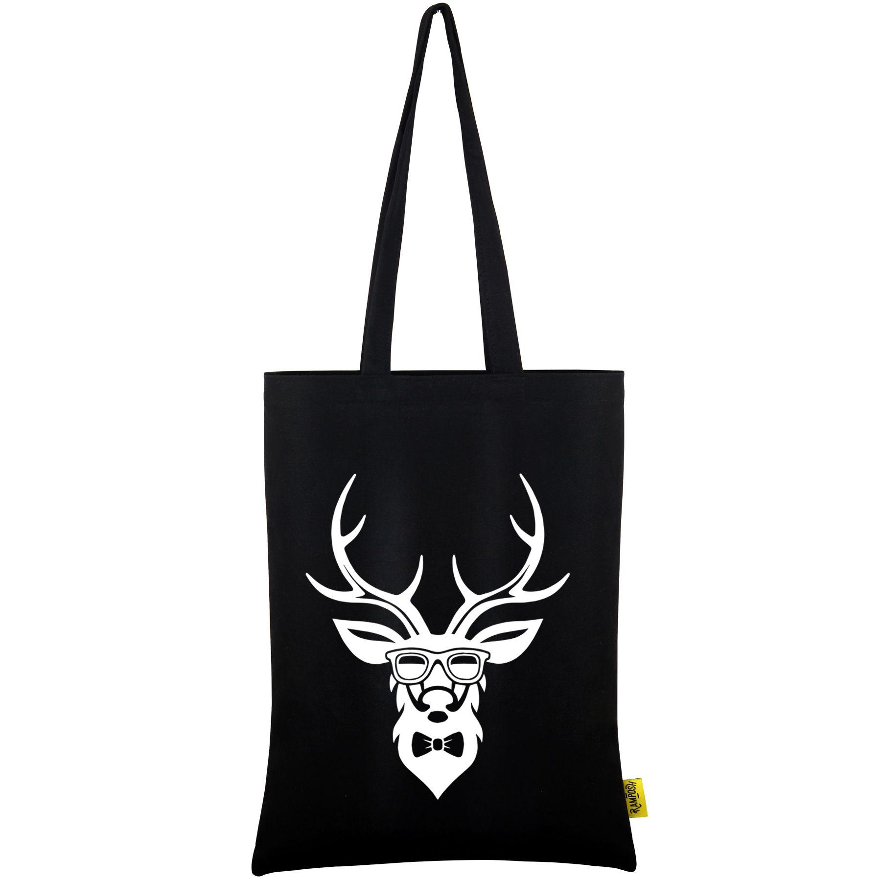 Ramposh Black Cotton Tote Bag