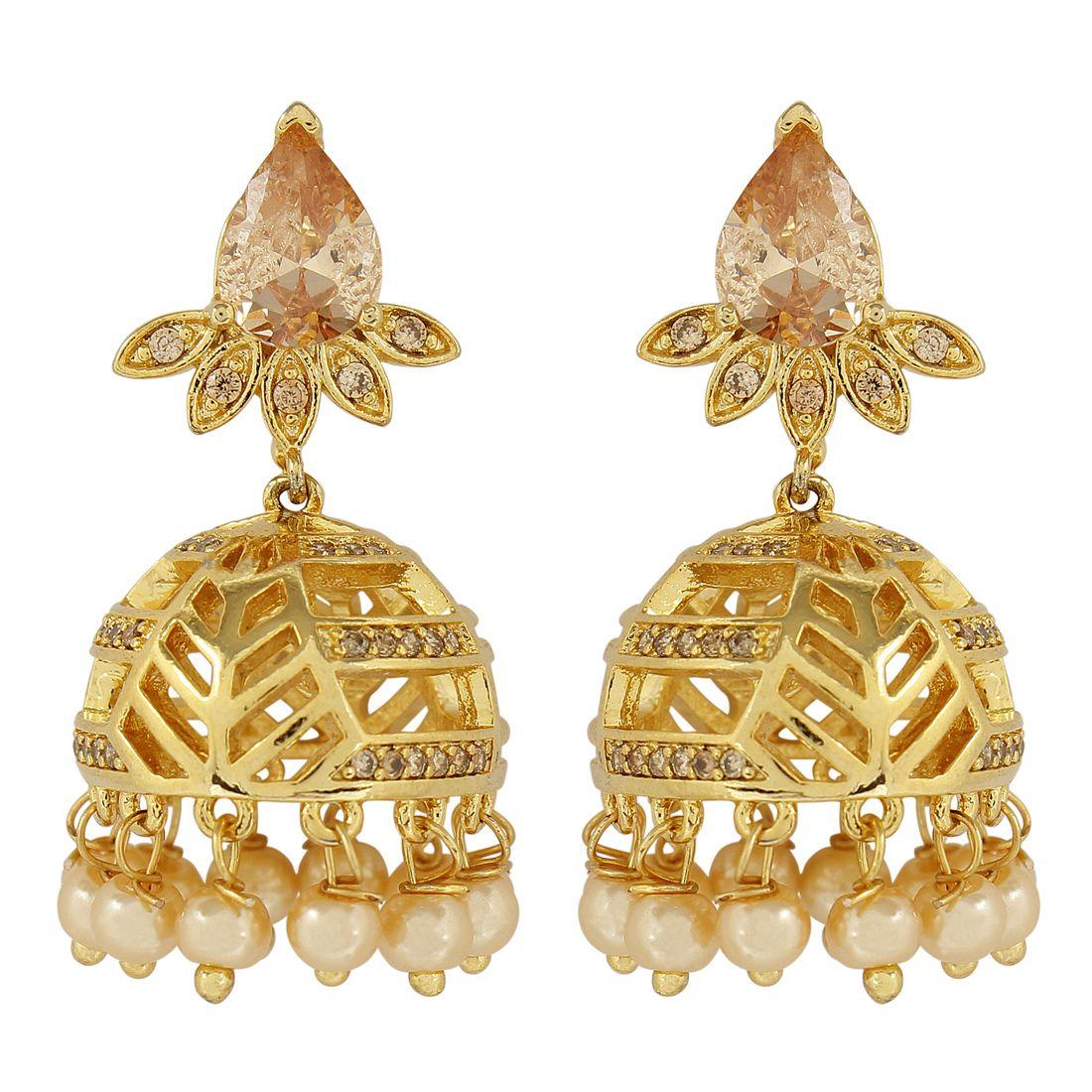 MUCH MORE Fantastic American Diamond CZ Fashion LCT Stone Jewellery Traditional Jhumki Earrings