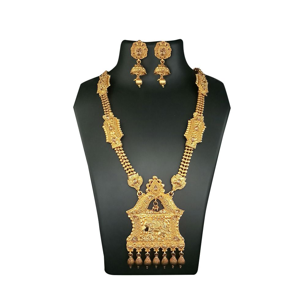JewelMaze Elephant Design Haram Necklace Set-1107938