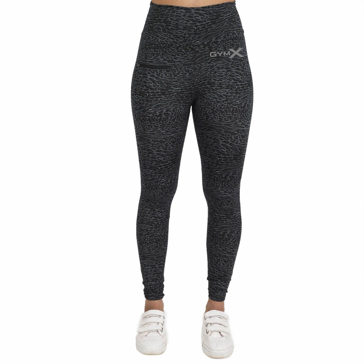 GymX Womens Polyester Allure Leggings: Black Cheetah Skin-Black