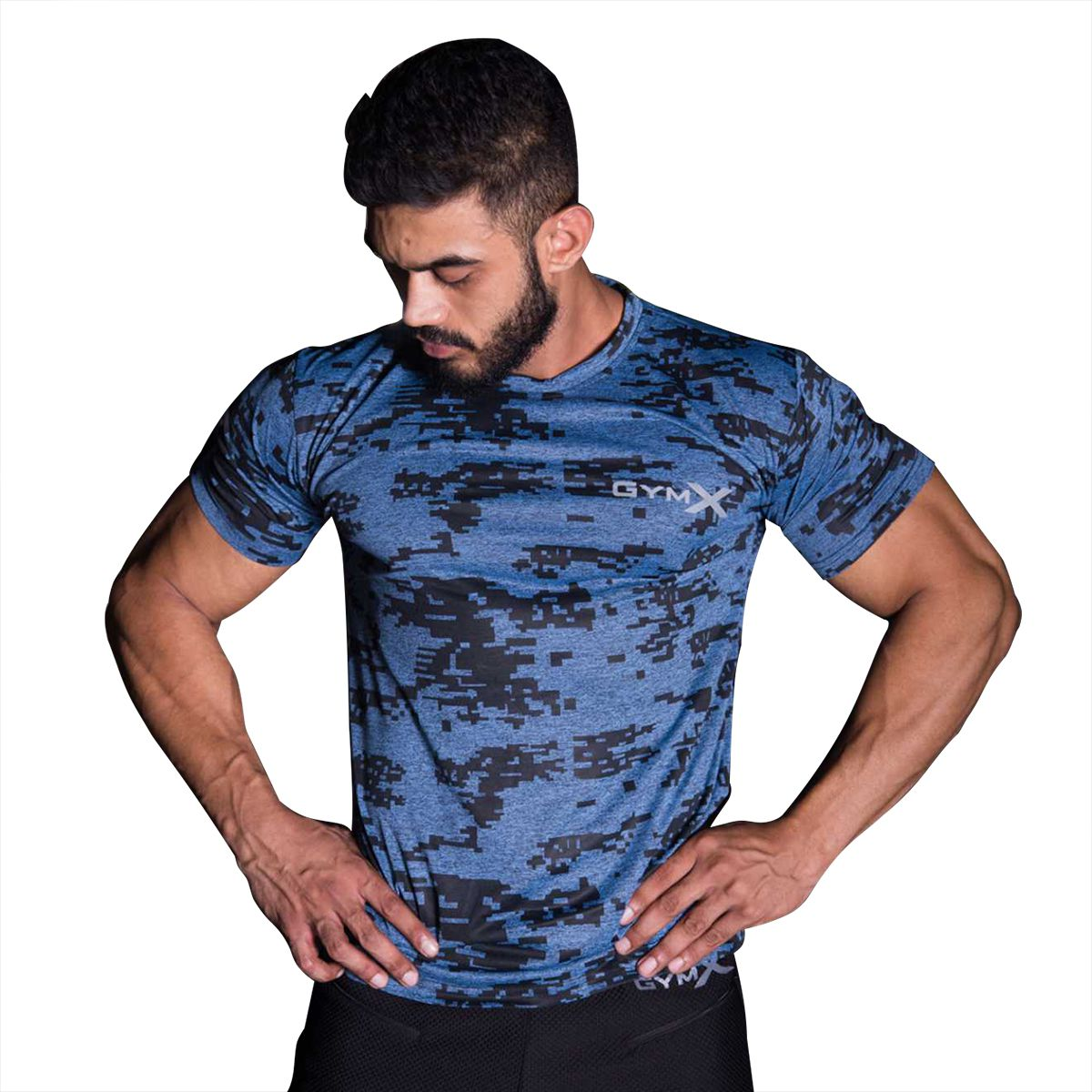 GymX Mens Space Blue Tshirt- Matrix Camo (Dry Fit) (Size:Large)