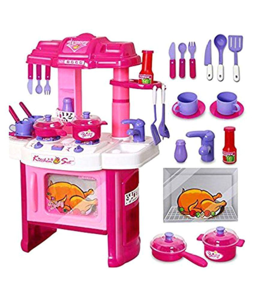 Kashti Multicolor Fashion Pink Plastic Kitchen Set For Kids 2