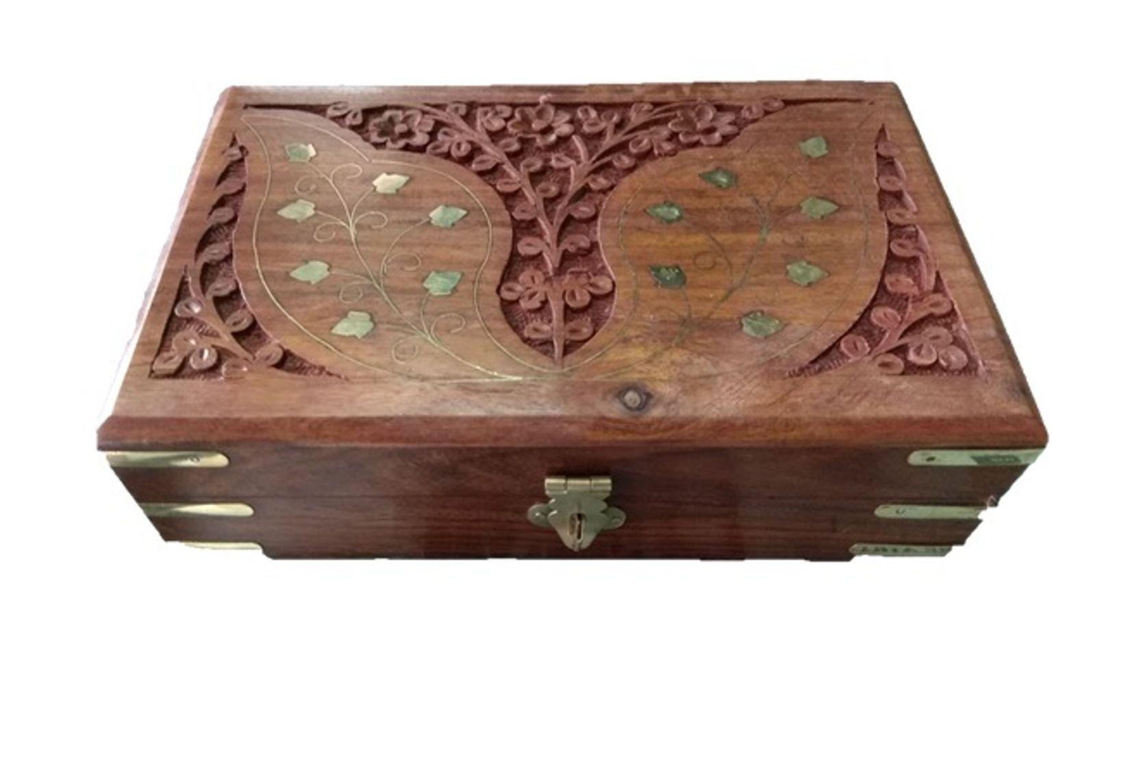 Royals Jewellery Box Flap carving pattern handmade
