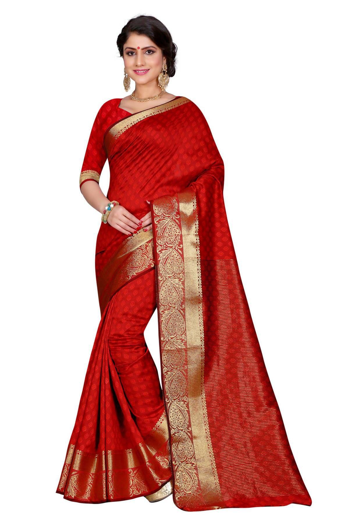 Sudarshan silks Red Cotton Saree