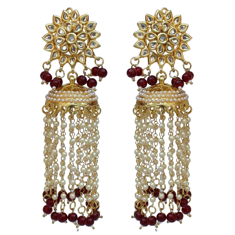 Lucky Jewellery Ethnic Maroon Color Kundan Pearl With Back Side Meenakari Dangle Jhumki Earring For Girls & Women