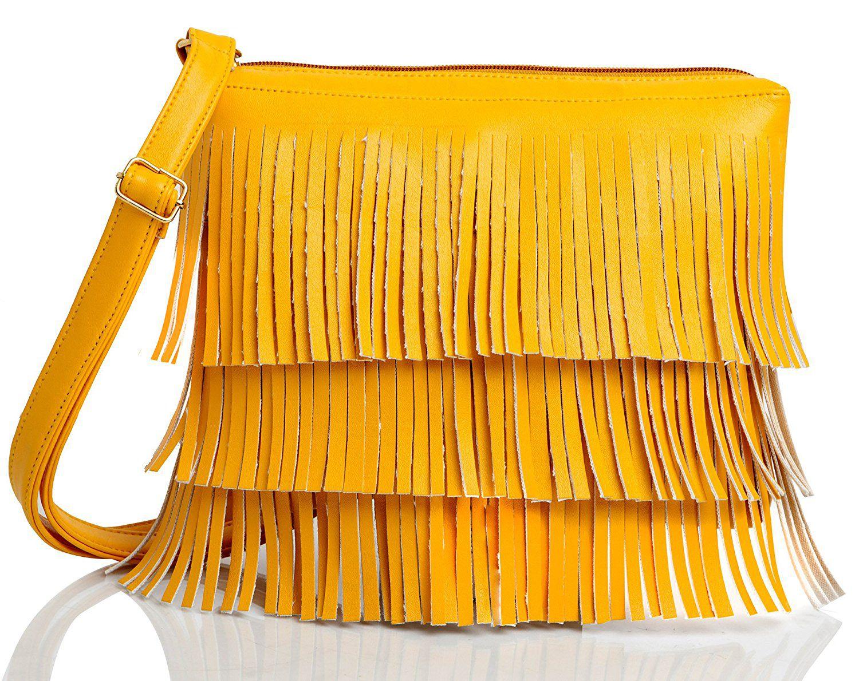 Mammon Yellow Rexin Sling Bag
