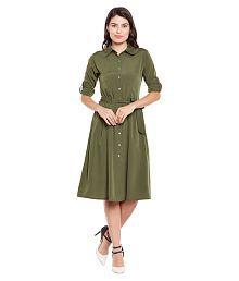 4ade840e1be5 Quick View. Wisstler Poly Crepe Green Shirt One Piece Long Women Maxi Dress