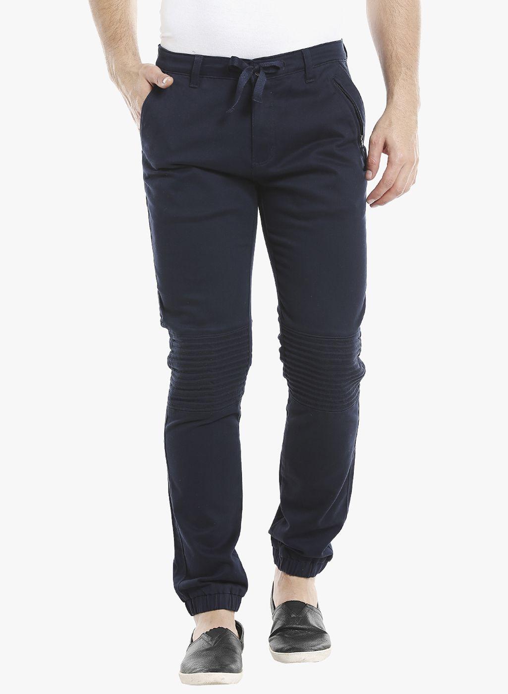 ROADIES by BEEVEE Navy Blue Regular -Fit Flat Trousers