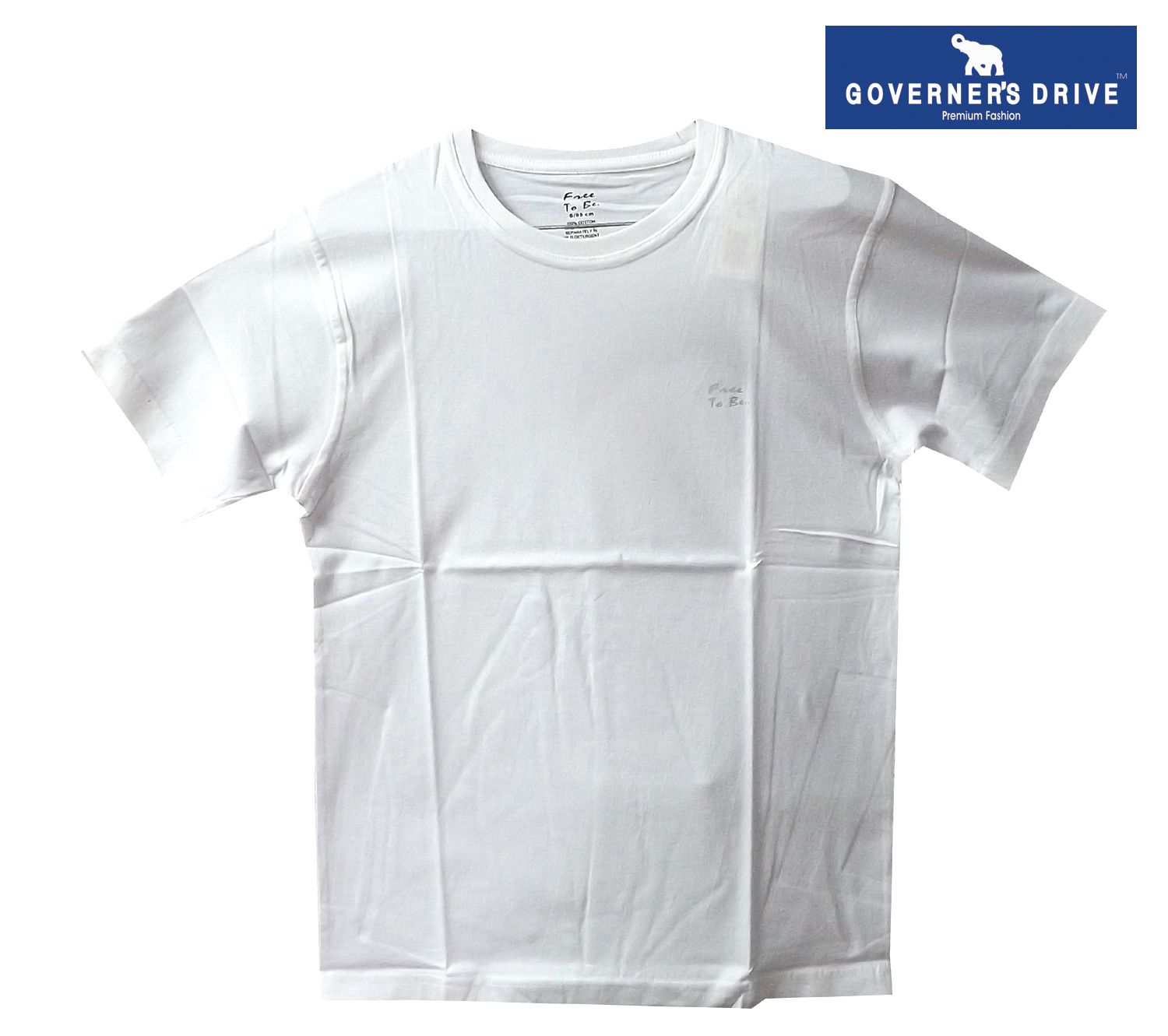 GOVERNER'S DRIVE White Round T-Shirt Pack of 1