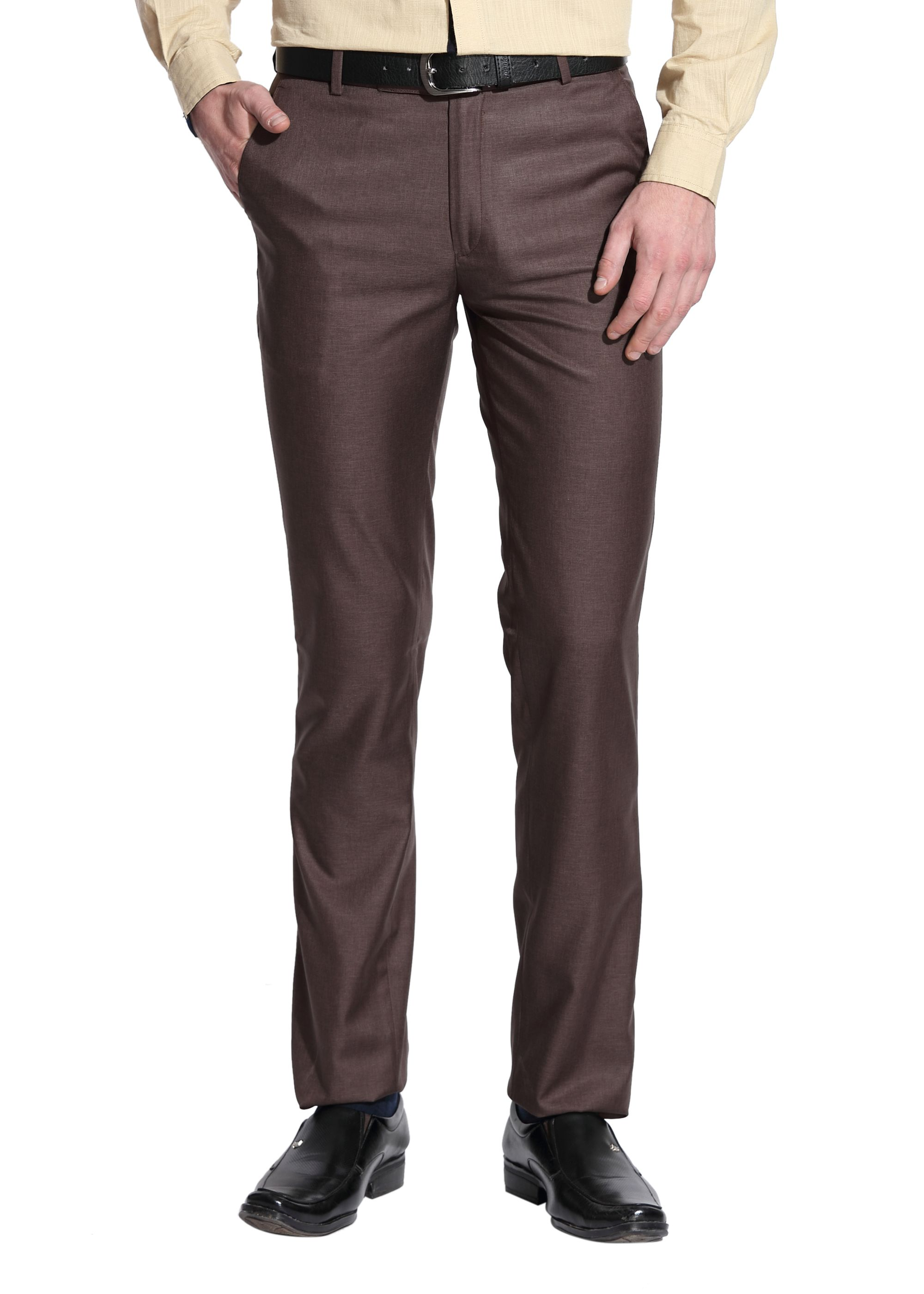 Le Bison Brown Slim -Fit Flat Trousers