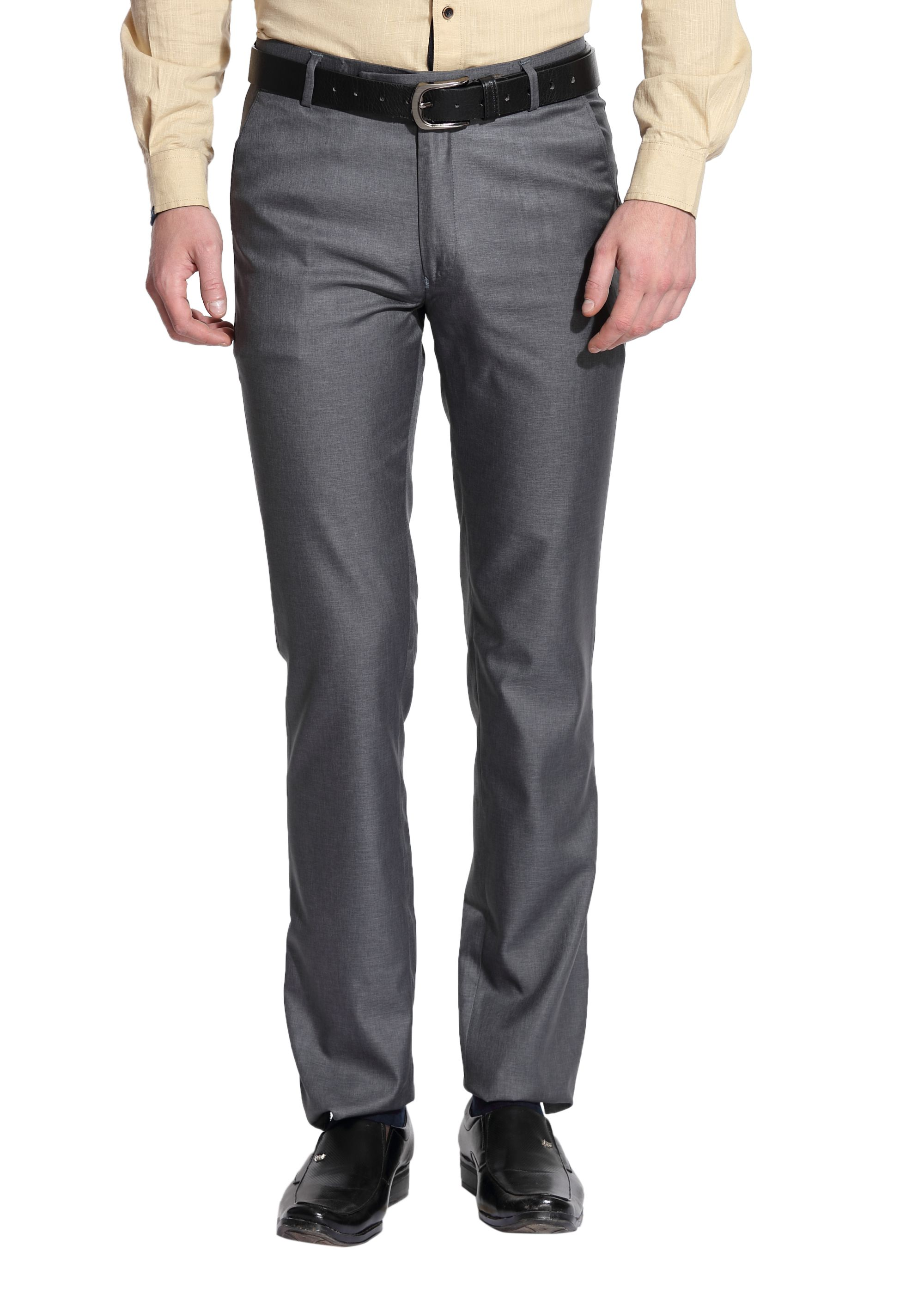 Le Bison Grey Slim -Fit Flat Trousers