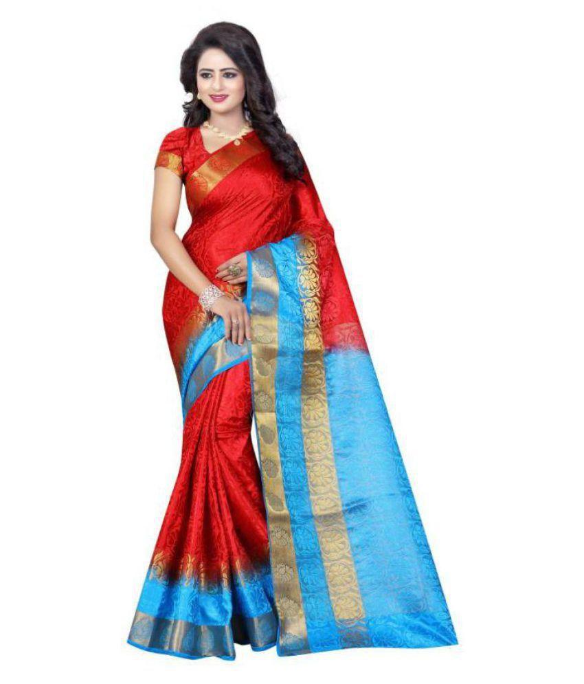Yes Fashion Red Banarasi Silk Saree