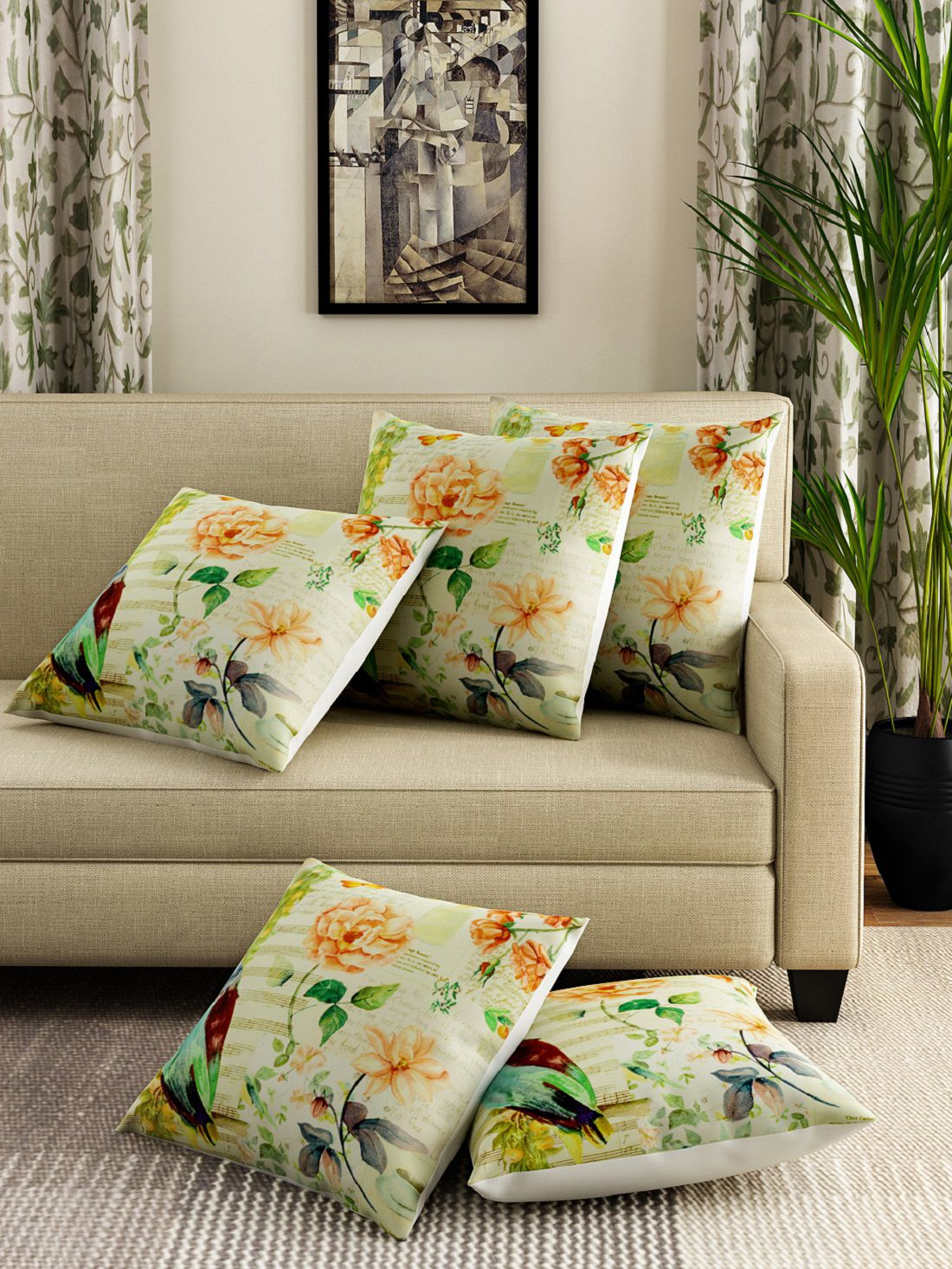 Swayam Set of 5 Cotton Cushion Covers 40X40 cm (16X16)