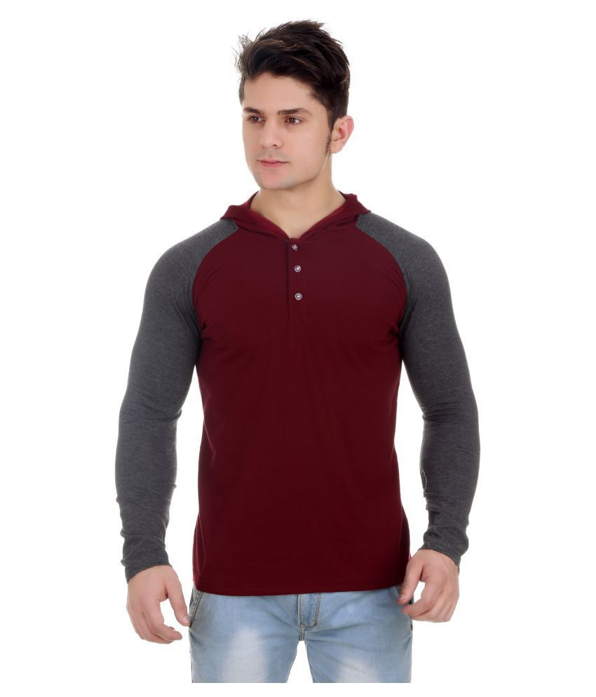 ZCELL Maroon Hooded T-Shirt Pack of 1