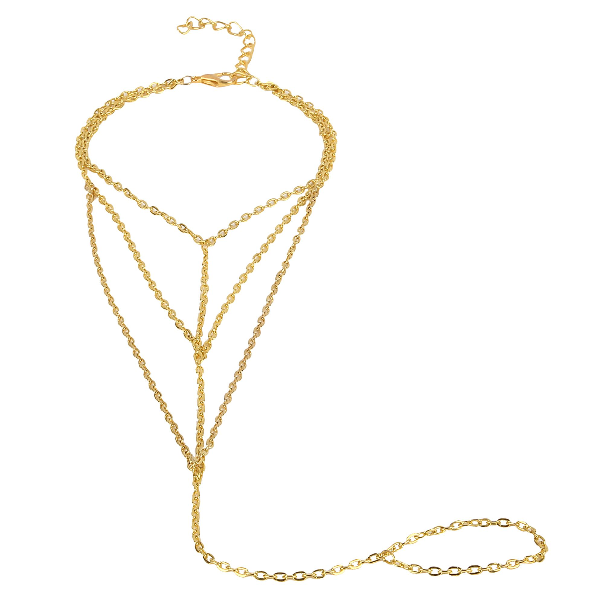 Fayon Designer Modern Golden  Layered Foot Chain With Toe Ring (Single Piece)