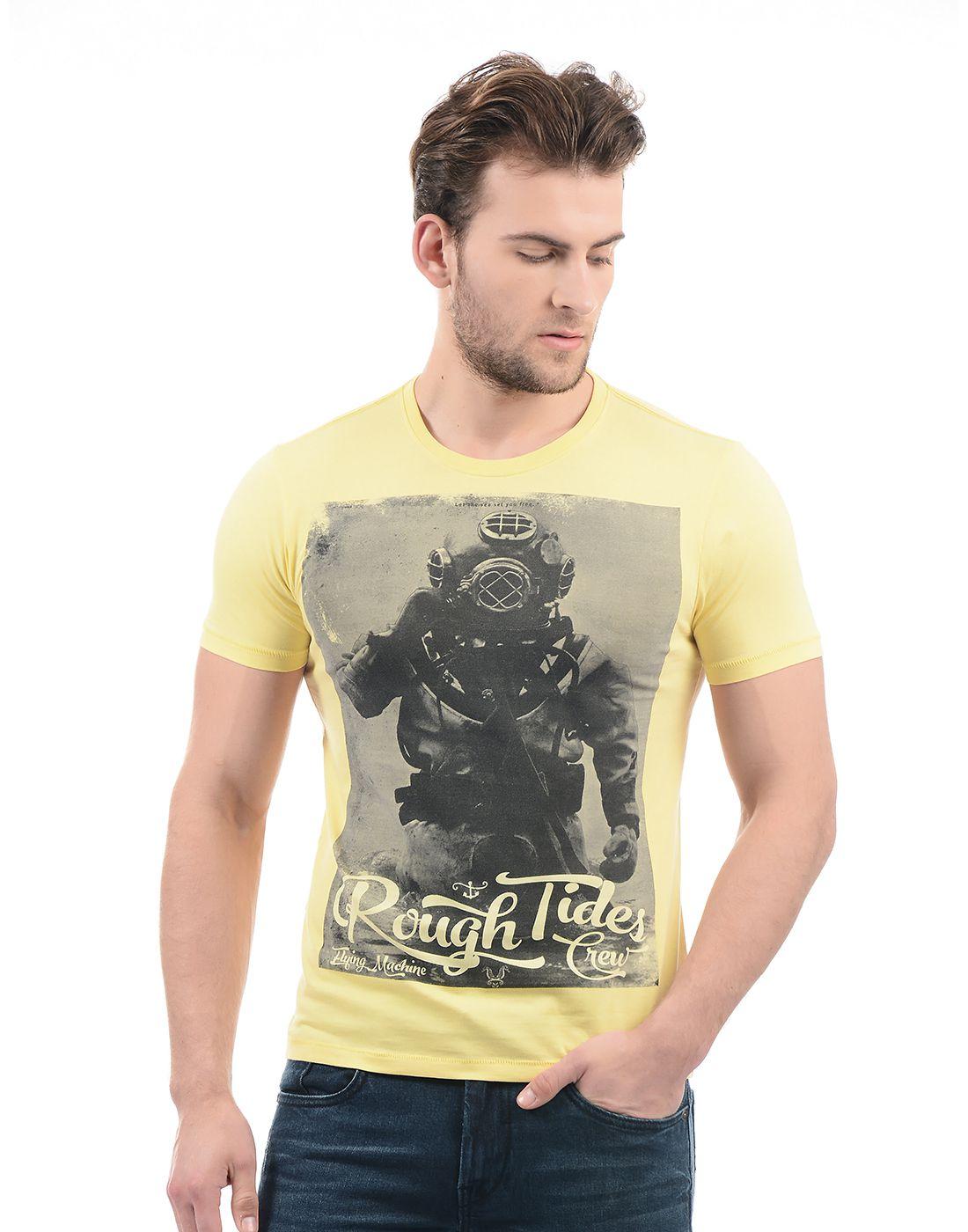 Flying Machine Yellow Round T-Shirt