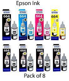 Epson Multi Ink Pack of 8 (5 black bottles,1 Cyan, 1 Magenta, 1 Blue)