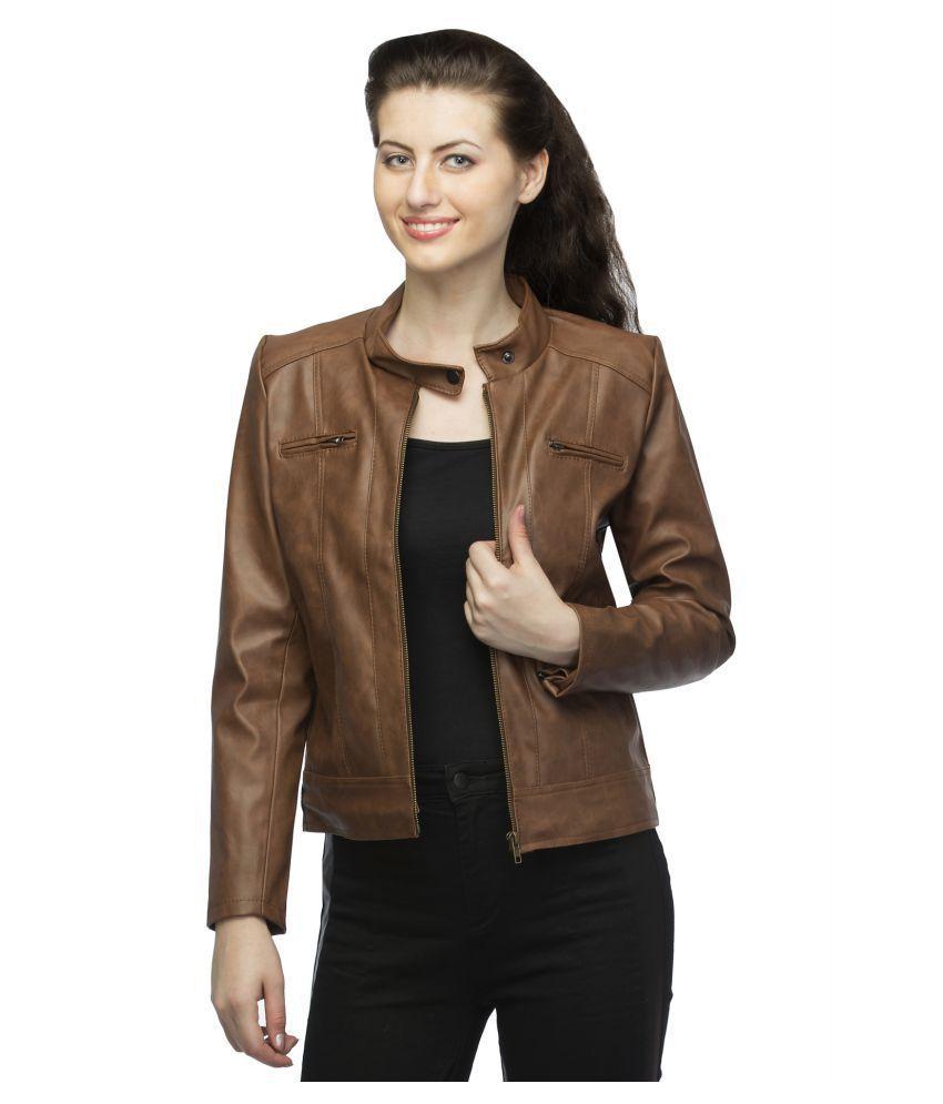 Emblazon Faux Leather Brown Biker