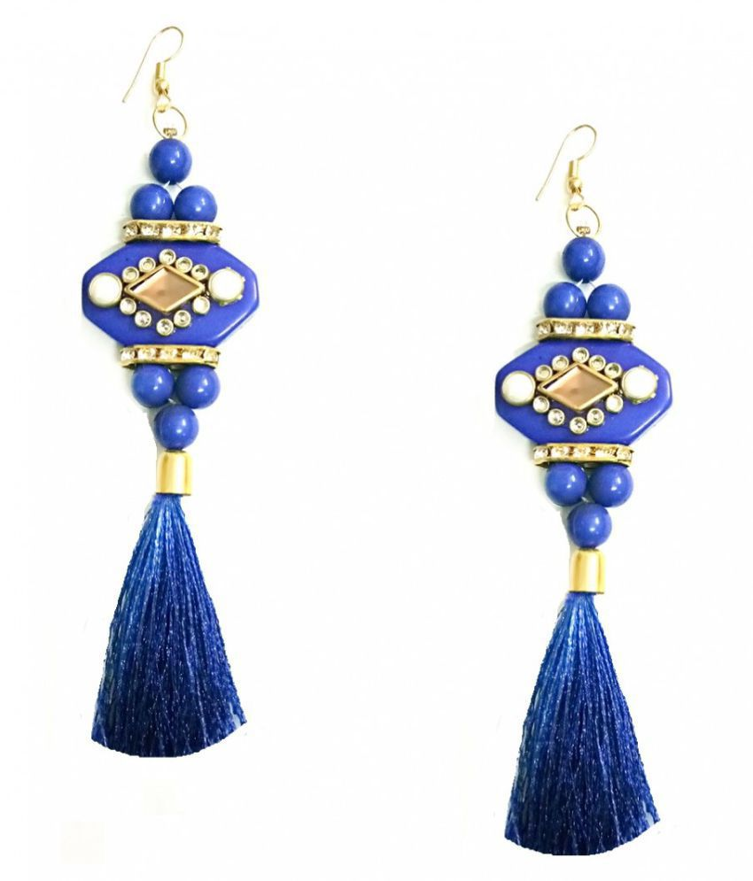 Turqueesa Beaded Mirror StoneWork Playful Tassel Long Dangler - Blue