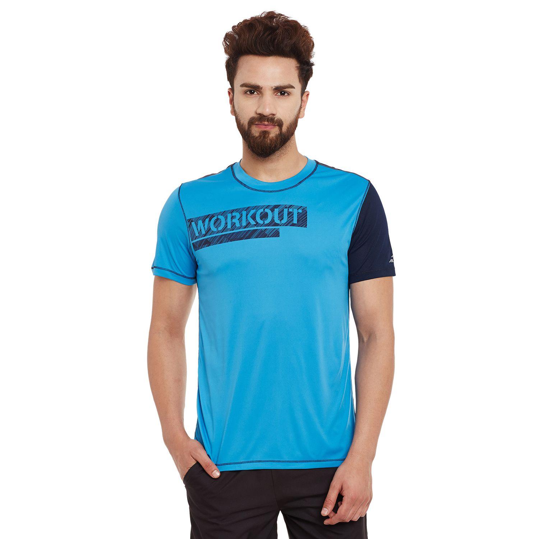 Alcis Mens Blue Printed Tshirt