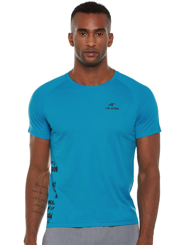 Alcis Mens Blue Solid Tshirt