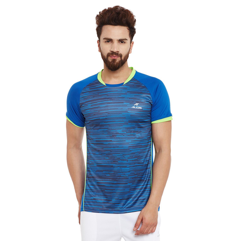Alcis Mens Blue printed half Sleeve Tshirt