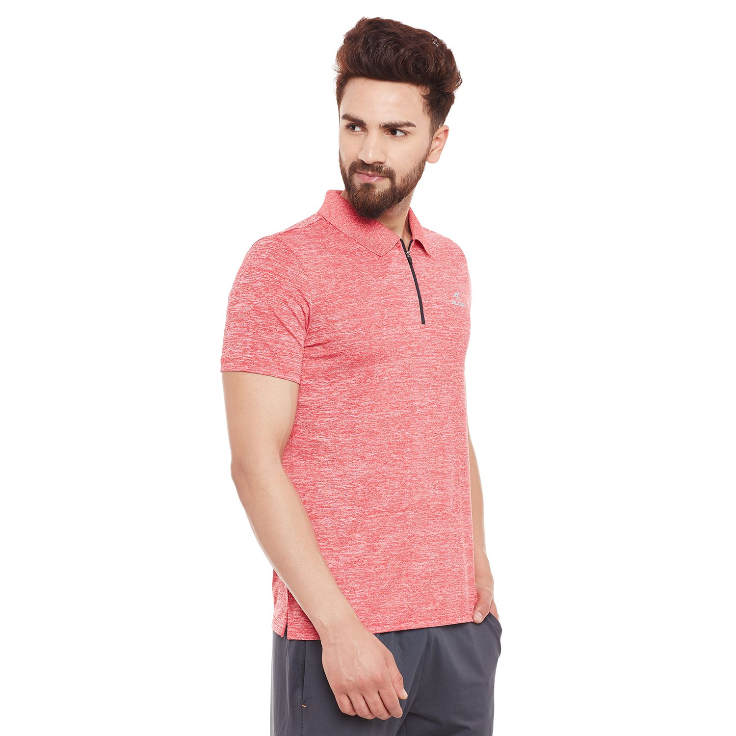 Alcis Mens Red Solid Polo Tshirt