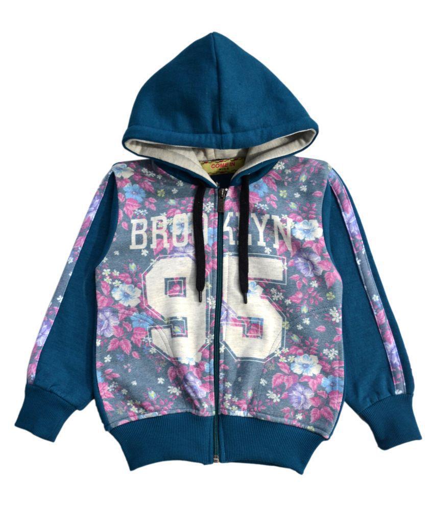 Come In Kids Girls Kids Full Sleeve Winter Wear Printed Sweatshirt