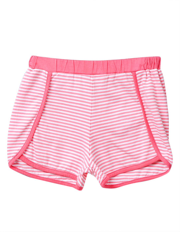Coral & white stripe shorts Coral 3Y