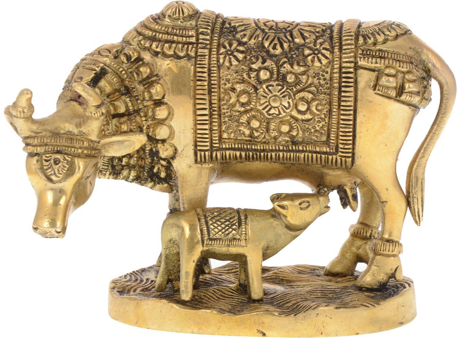 Kartique Cow and Calf Brass Idol