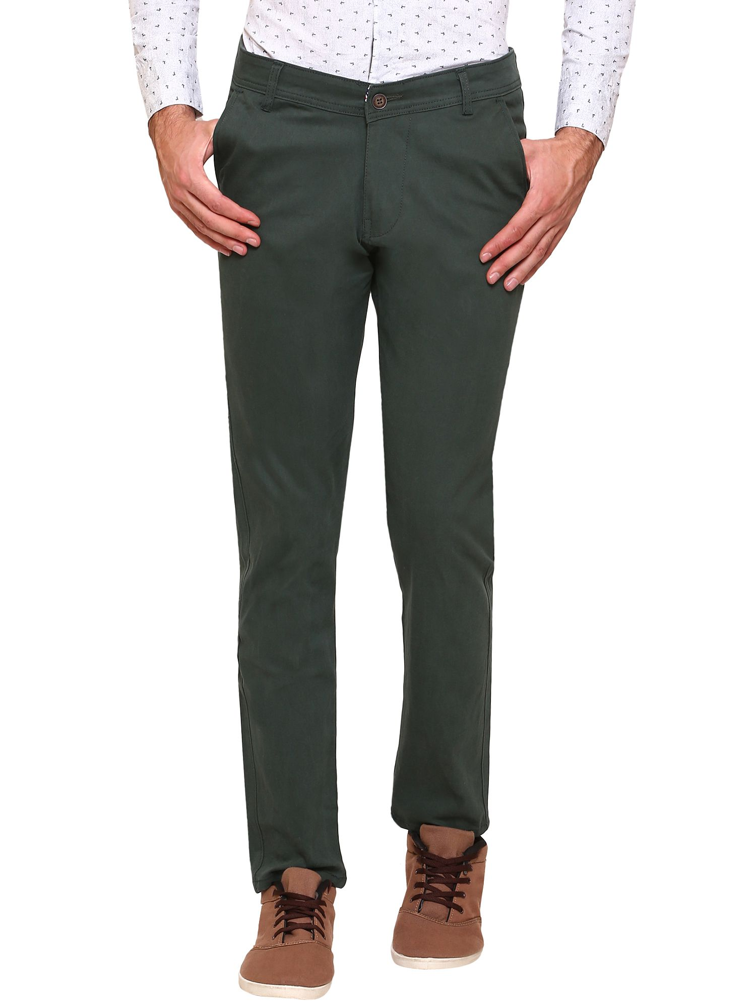 gradely Green Regular -Fit Flat Trousers