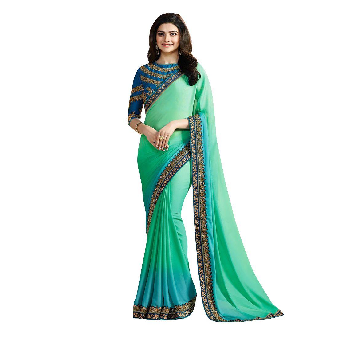 Laxmipati fashion Green and Blue Georgette Saree
