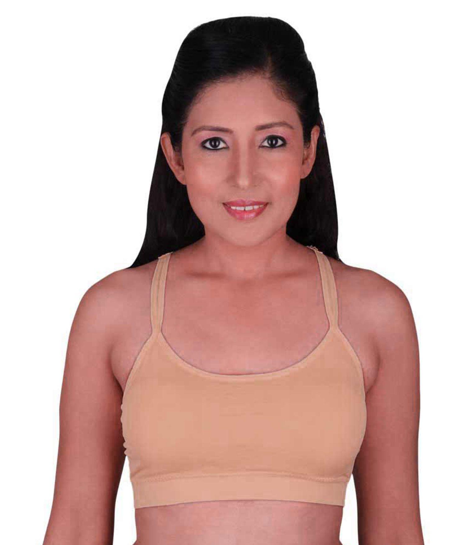Mrs Queen Fashion Cotton Lycra T-Shirt Bra - Orange