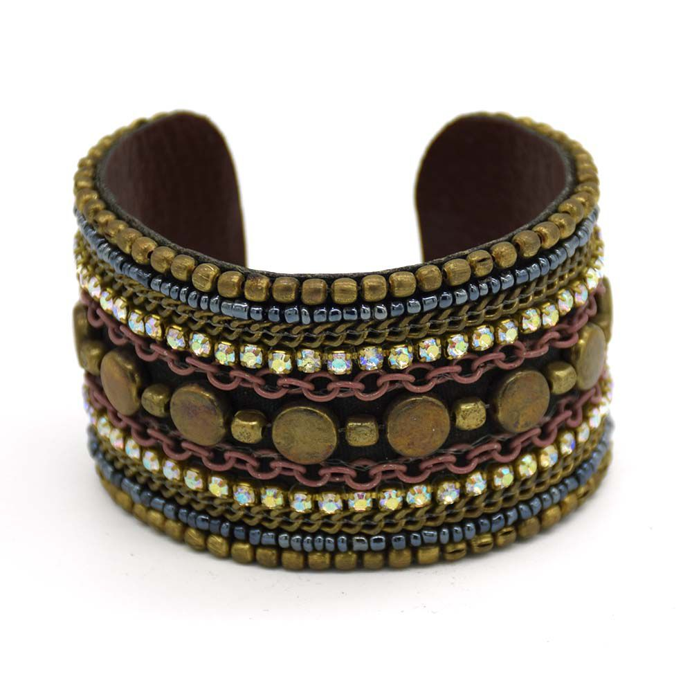 Gold Black Oxidised Plated Leather Cuff
