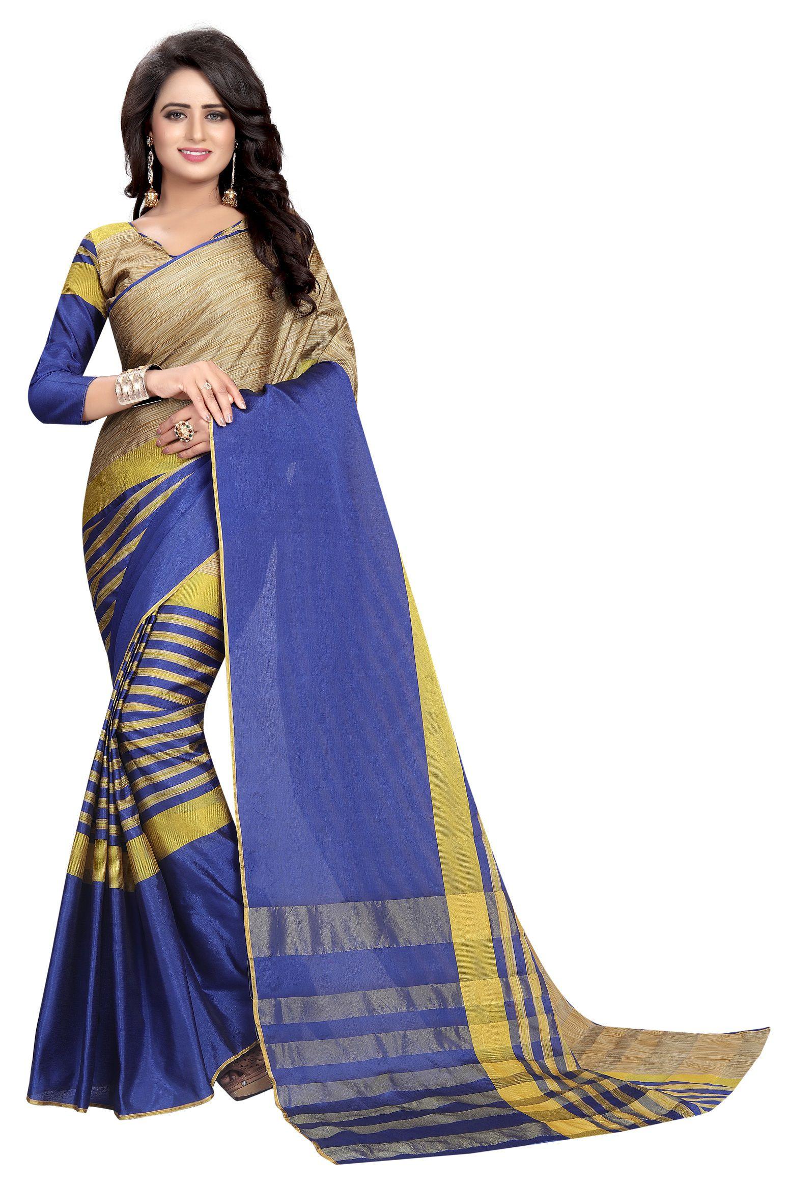 Saree Museum Blue and Purple Cotton Silk Saree