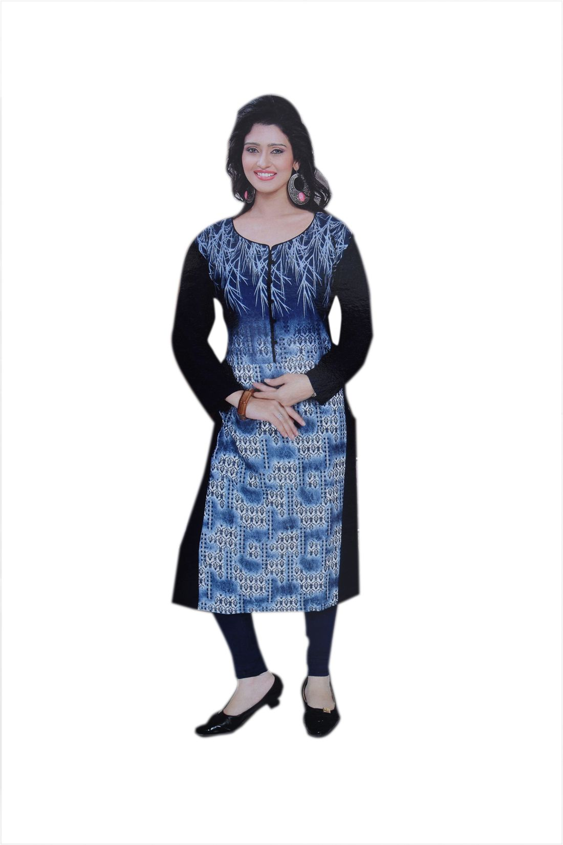 JBS SUCHI FASHION Blue Poly cotton Straight Kurti