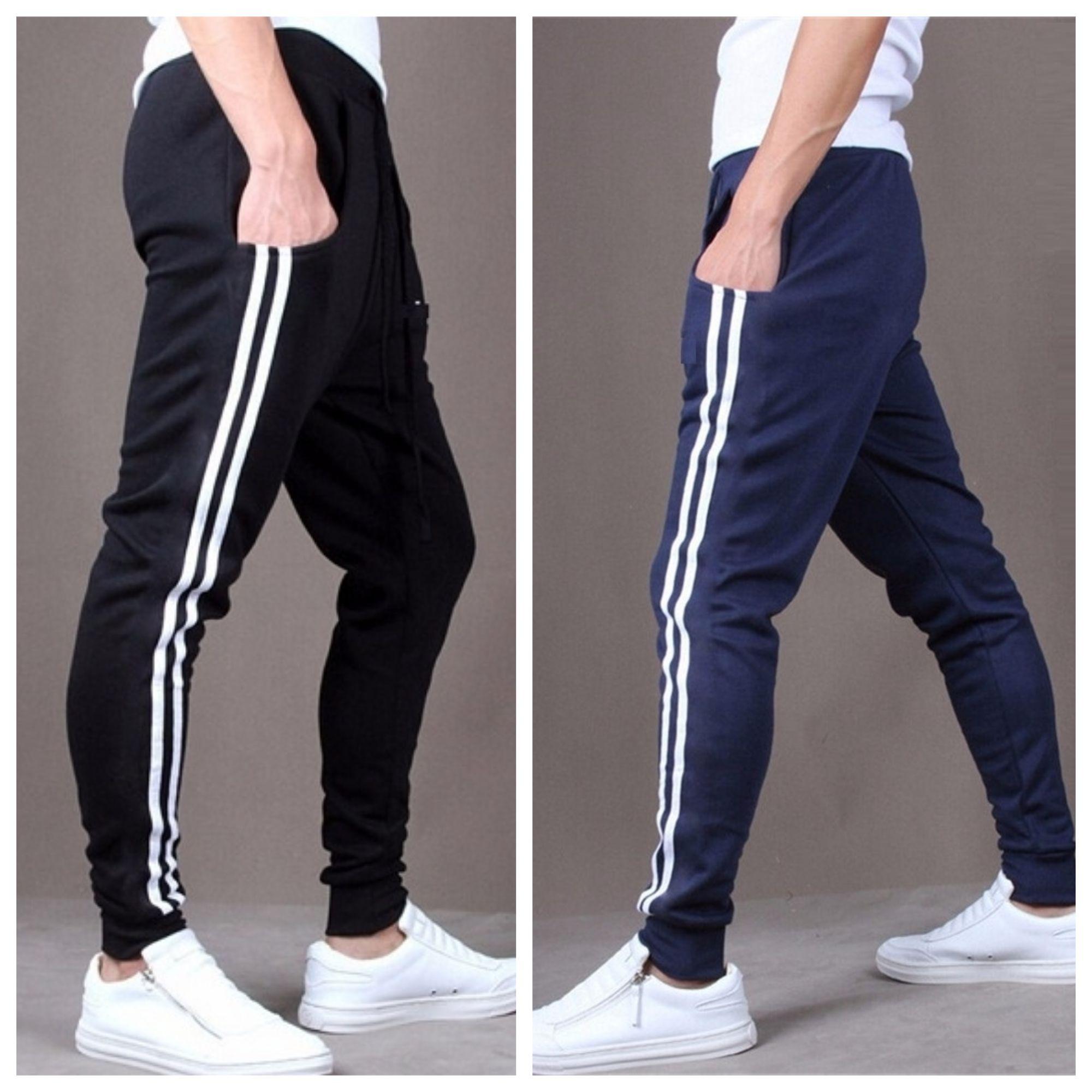 Joggers Park Combo Of 2 Men's Fashion Casual Skinny Sports Black Blue Track Pants