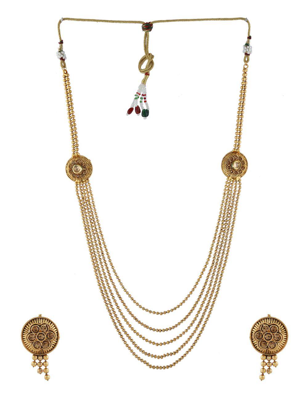 Anuradha Art Gold Finish Golden Beads Styled Wonderful Designer Traditional Long Necklace Set For Women/Girls