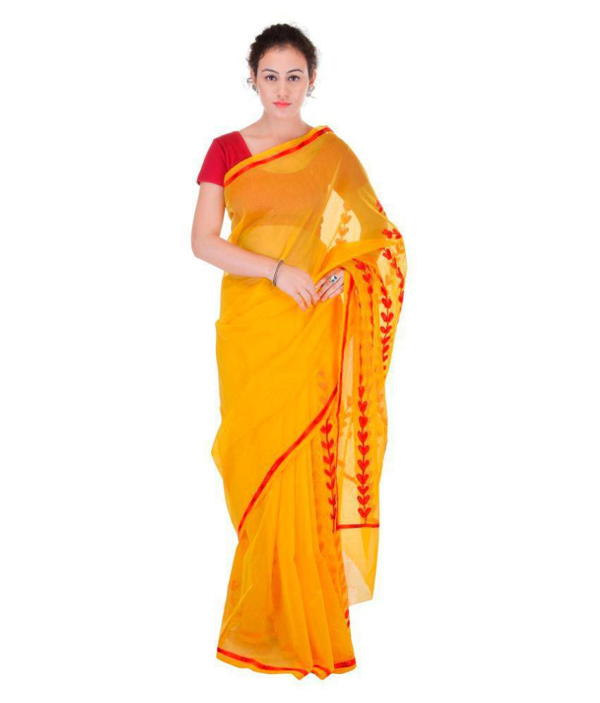 BINORI Yellow and Orange Super Net Saree
