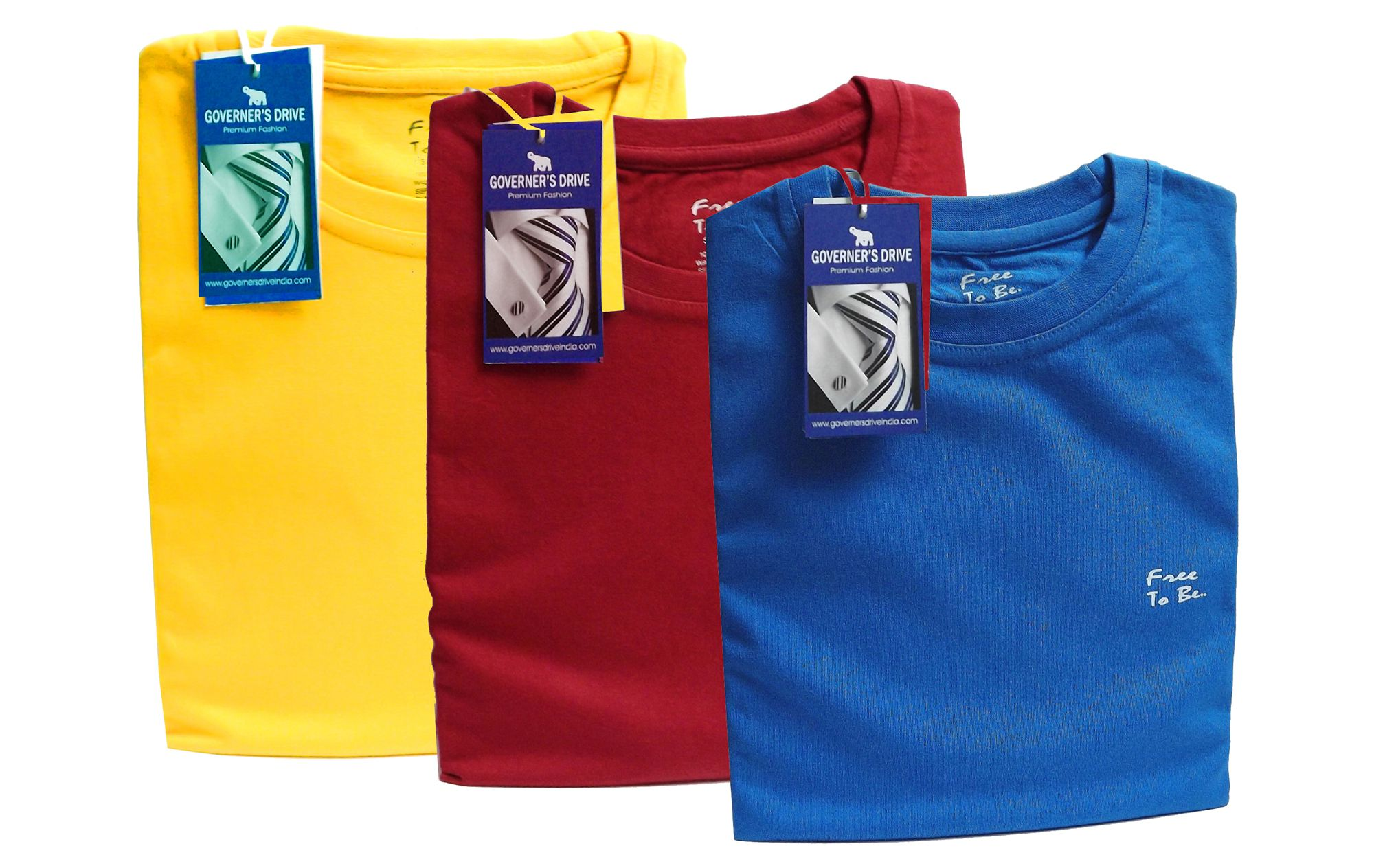 GOVERNER'S DRIVE Red Round T-Shirt Pack of 3