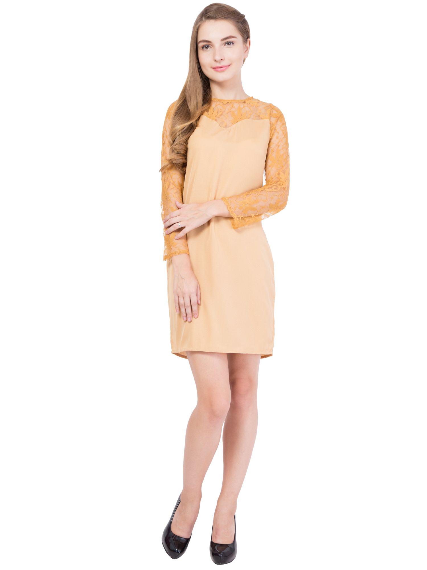 ALVENDA Polyester Gold Bodycon Dress