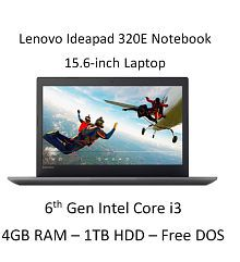 Lenovo Ideapad 320E 80XH01GKIN Notebook (6th Gen Intel Core i3- 4GB RAM- 1TB HDD- 39.62cm(15.6)- DOS) (Grey)