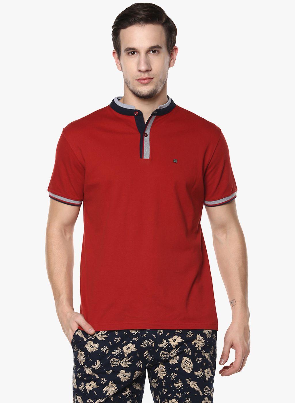 Crimsoune Club Red Henley T-Shirt