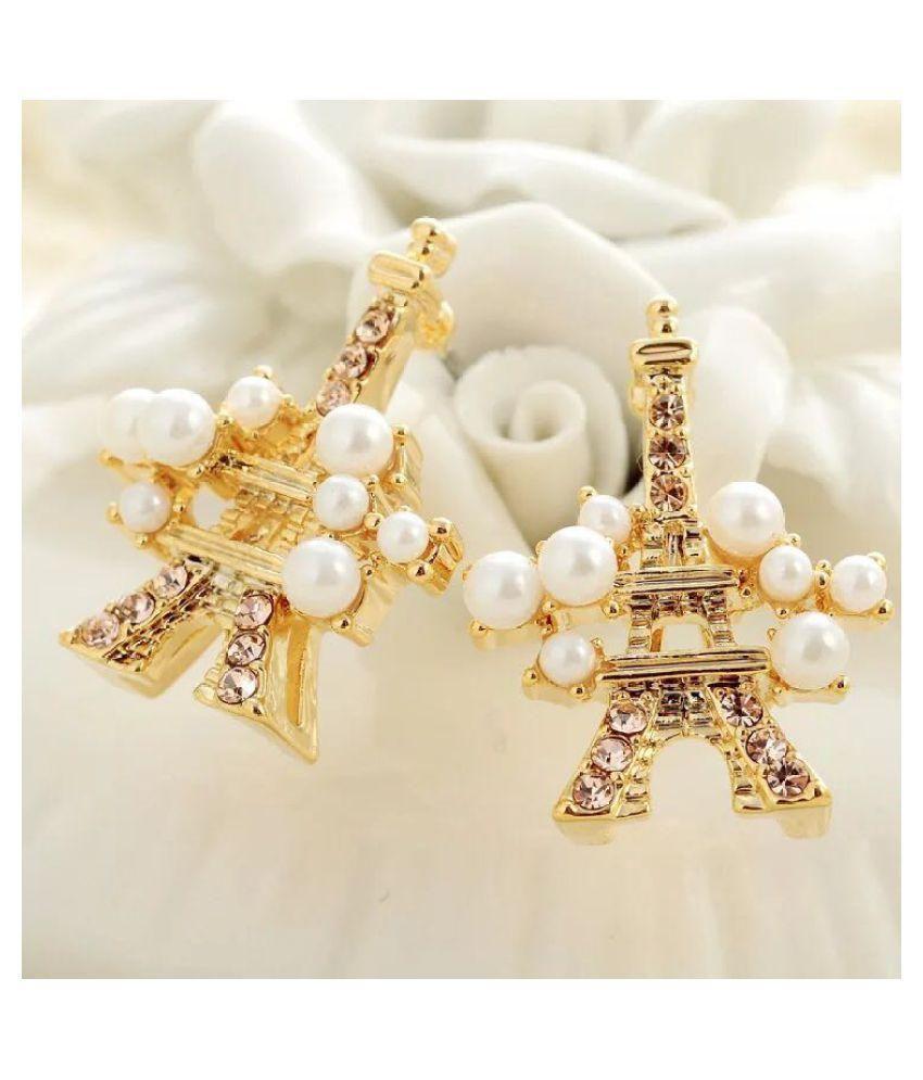 Diana Pearl Studded Eiffel Tower Elegant Earrings By Popmode